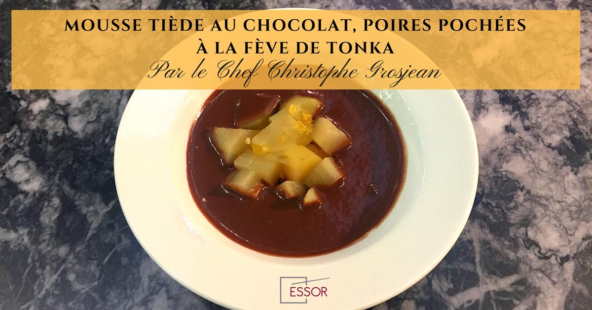 Essor MOUSSE TIÈDE AU CHOCOLAT, POIRES POCHÉES